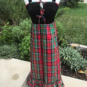1970's -80's vintage plaid Christmas dress Sz 5